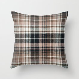 Plaid Fabric Print in Brown, Black, and White  Throw Pillow