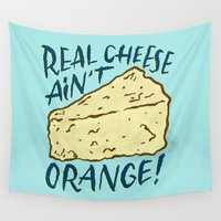 cheese Wall Tapestries featuring Real Cheese by Josh LaFayette