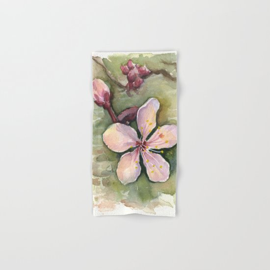 Cherry Blossom Watercolor Painting | Spring Flowers Hand & Bath Towel