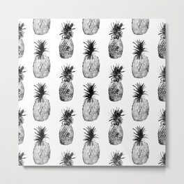 Black-and-white pineapples Metal Print