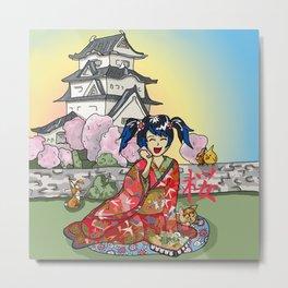 Cellphone geisha at a Japanese castle Metal Print