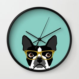 Darby - Boston Terrier pet design with hipster glasses in bold and modern colors for pet lovers Wall Clock