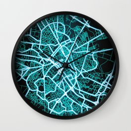 Reims, France, Blue, White, Neon, Glow, City, Map Wall Clock