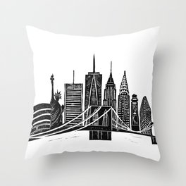 Linocut New York Throw Pillow