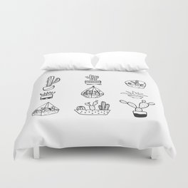 Minimalist Cacti Collection Black and White Duvet Cover
