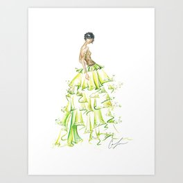 Green Ruffles Art Print