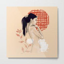 Girl drawing on red Metal Print