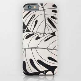 Monstera plant and ivy b/w iPhone Case