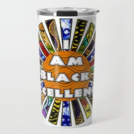 I am Black Excellence African Fabric Collage Travel Mug