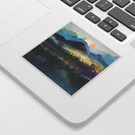 Mountain Lake Under Sunrise Sticker