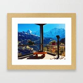 Swiss Alps Looking Glass Framed Art Print