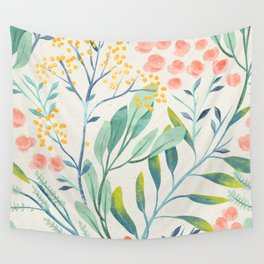 Floral Seamless Pattern Mystical Magical Delicate Flowers Green Leaves Pink Blossoms Wall Tapestry