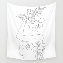 Minimal Line Art Woman with Flowers VI Wall Tapestry