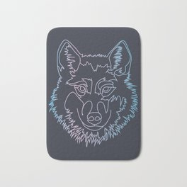 Vector wolf in one line Bath Mat