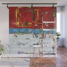 Folly Bright Red White Modern Art Abstract Painting Wall Mural