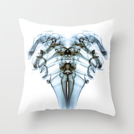 Smoke Ram-Blue on White Throw Pillow