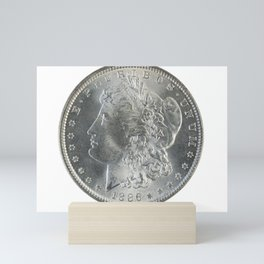 Morgan silver, front side, isolated on white Mini Art Print
