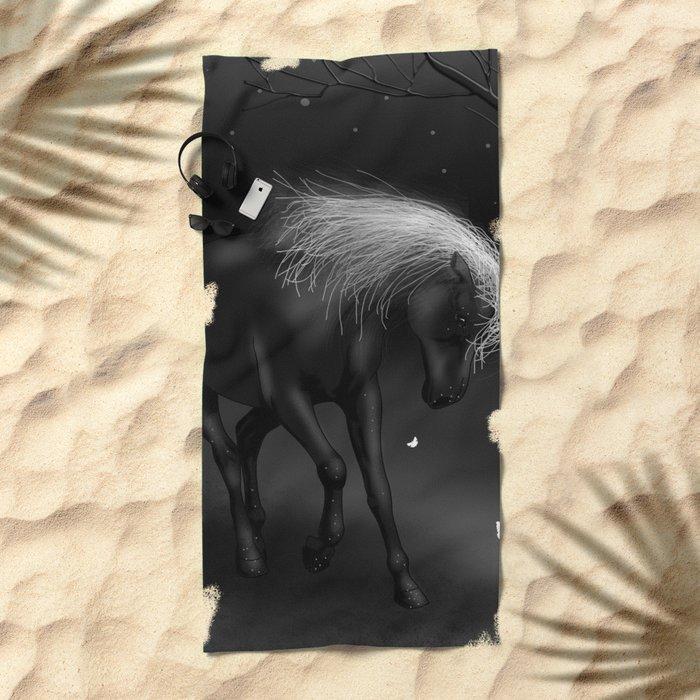 Black Horse Beach Towel
