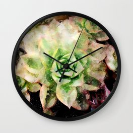 Colorful Succulent Watercolor Wall Clock