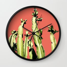 Cactus - red Wall Clock