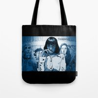 mia wallace Tote Bags featuring Pulp Fiction - Mia Wallace by Rob O'Connor