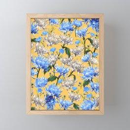 Mums Pattern  |  Yellow-Blue-Cream-White Framed Mini Art Print