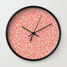 Leopard Print | Living Coral Pink with Tan Background | girly pastel | Cheetah Wall Clock
