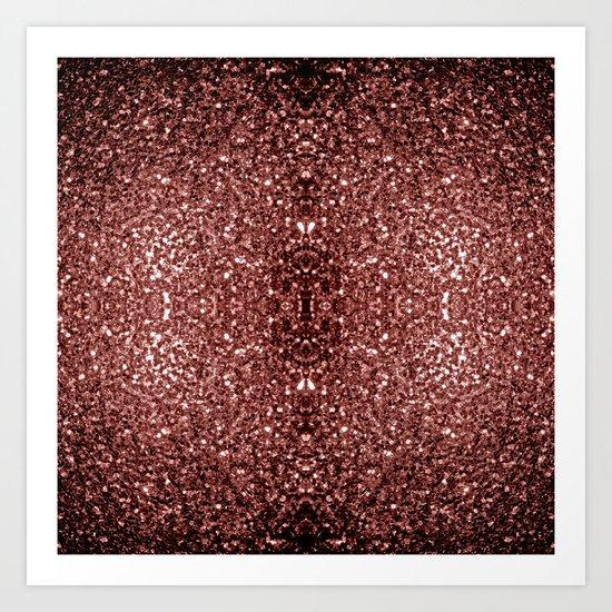 Beautiful Glam Marsala Brown-Red Glitter sparkles Art Print