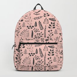 Pink and black leaves Backpack