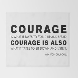 Courage quote - Winston Churchill Throw Blanket