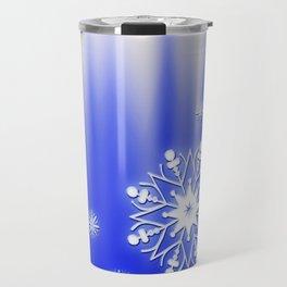 Merry Christmas. Snowflakes texture. Travel Mug
