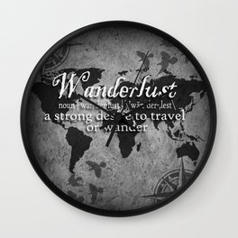 Wanderlust Black and White Wall Clock