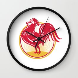 Rooster Cockerel Crowing Retro Wall Clock