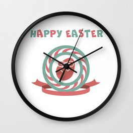 Happy Easter hand sketched logotype Wall Clock