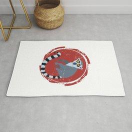 Lemur In A Red Circle Rug