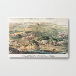 Vintage Map of Yellowstone National Park, 1904 Metal Print