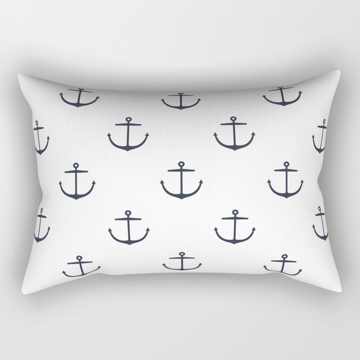 Yacht style. Anchor. Navy blue & white. Rectangular Pillow