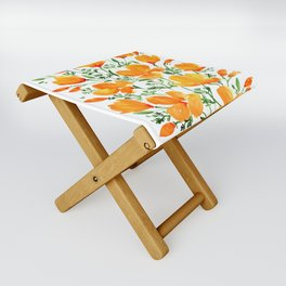 Watercolor California poppies Folding Stool