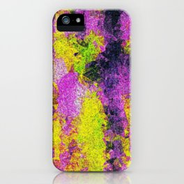 vintage psychedelic painting texture abstract in pink and yellow with noise and grain iPhone Case