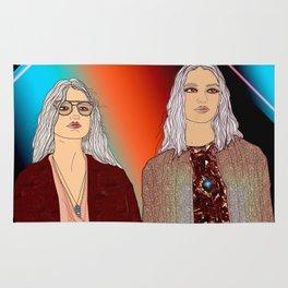 Social Jetlag - Mean Girls Stare, Nice Girls Smile - Digital Art Rug