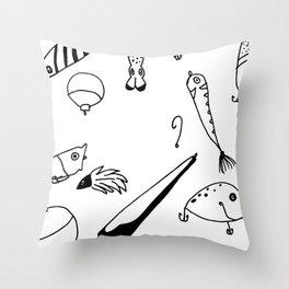 Black and White Lures Throw Pillow
