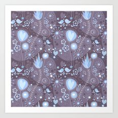 Whimsical garden in grey and blue Art Print
