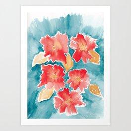 Orange Burst Florals Art Print