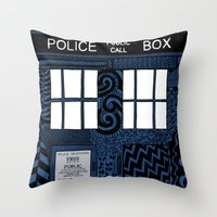 tardis Throw Pillows featuring Tardis by Rebecca Bear