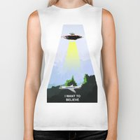 i want to believe Biker Tanks featuring I WANT TO BELIEVE! by Bernardo Furlanetto