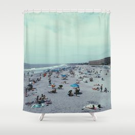 Folly Beach, With People  Shower Curtain