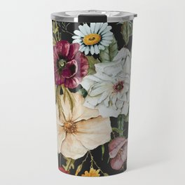 Colorful Wildflower Bouquet on Charcoal Black Travel Mug