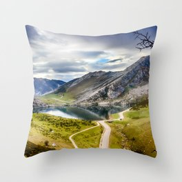 The Lakes of Covadonga, Enol Throw Pillow