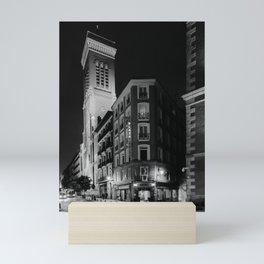 Madrid Hotel at Night BW Mini Art Print