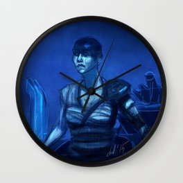 Furiosa in Blue Wall Clock